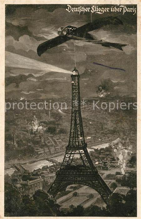 AK / Ansichtskarte Paris Deutscher Flieger ueber Paris La Tour Eiffel Kuenstlerkarte Deutscher Luftflottenverein Paris