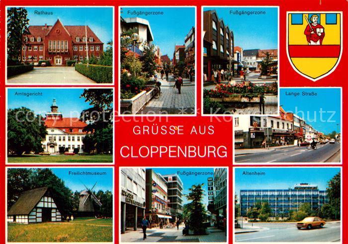 AK / Ansichtskarte Cloppenburg Rathaus Amtsgericht Freilichtmuseum Lange Strasse Altenheim Cloppenburg