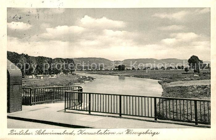 AK / Ansichtskarte Rinteln Schwimmbad Kanustation Wesergebirge Rinteln