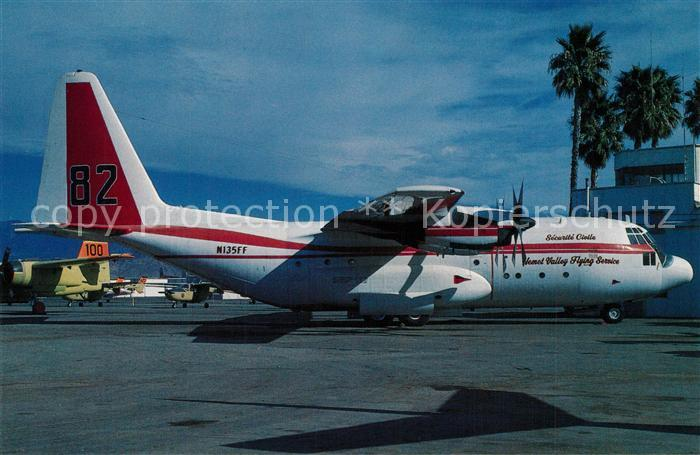 AK / Ansichtskarte Flugzeuge_Zivil Hemet Valley Flying Service Lockheed C 130A Hercules c n 3148  Flugzeuge Zivil