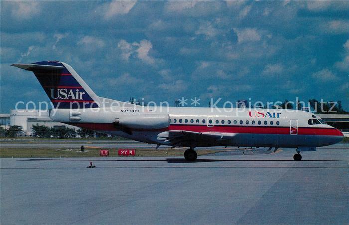 AK / Ansichtskarte Flugzeuge_Zivil US Air Fokker 28 1000 c n 11035 N456US  Flugzeuge Zivil