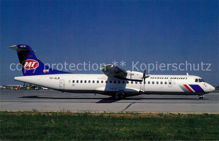 AK / Ansichtskarte Flugzeuge_Zivil JAT Yugoslav Airlines Aerospatiale ATR 72 c n 180 YU ALN  Flugzeuge Zivil