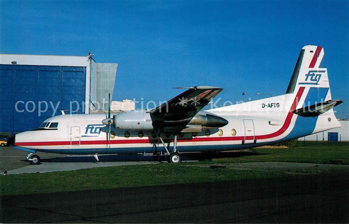 AK / Ansichtskarte Flugzeuge_Zivil FTG Fokker F 27 600 c n 10450 D AFTG  Flugzeuge Zivil