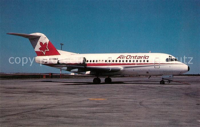 AK / Ansichtskarte Flugzeuge_Zivil Air Ontario Fokker F28 1000  Flugzeuge Zivil
