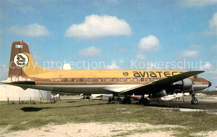 AK / Ansichtskarte Flugzeuge_Zivil Aviateca McDonnell Douglas DC 6 TG APA Flugzeuge Zivil