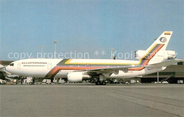 AK / Ansichtskarte Flugzeuge_Zivil Ecuatoriana McDonnell Douglas DC 10 30 HC BKO Flugzeuge Zivil