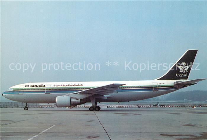 AK / Ansichtskarte Flugzeuge_Zivil Saudia Airbus A300 620 HZ AJG c n 321 Flugzeuge Zivil
