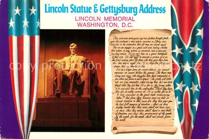 AK / Ansichtskarte Denkmal Lincoln Statue Washington D.C. Gettysburg Address  Denkmal
