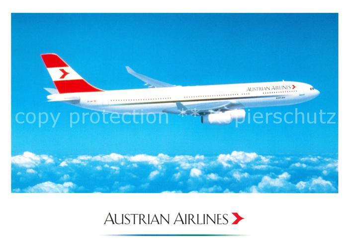 AK / Ansichtskarte Flugzeuge_Zivil Austrian Airlines Airbus A 340 Flugzeuge Zivil