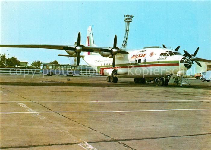 AK / Ansichtskarte Flugzeuge_Zivil Balkan Airport Burgas An 12 LZ BAC Flugzeuge Zivil