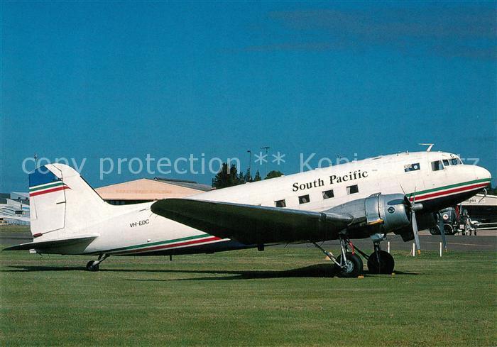 AK / Ansichtskarte Flugzeuge_Zivil South Pacific Douglas DC 3 VH EDC c n 12874 Flugzeuge Zivil