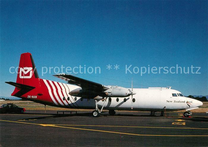 AK / Ansichtskarte Flugzeuge_Zivil New Zealand Posz Fokker F 27 500 ZK NAN c n 10365 Flugzeuge Zivil