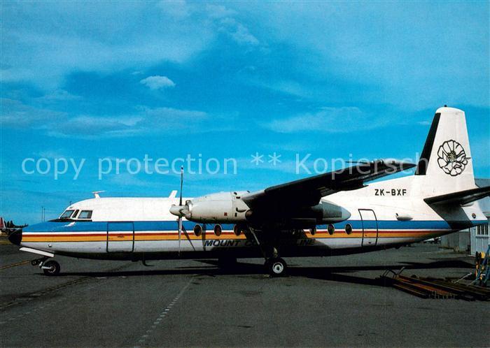 AK / Ansichtskarte Flugzeuge_Zivil Mount Cook Airlines Fokker F 27 100 ZK BXF c n 10185 Flugzeuge Zivil
