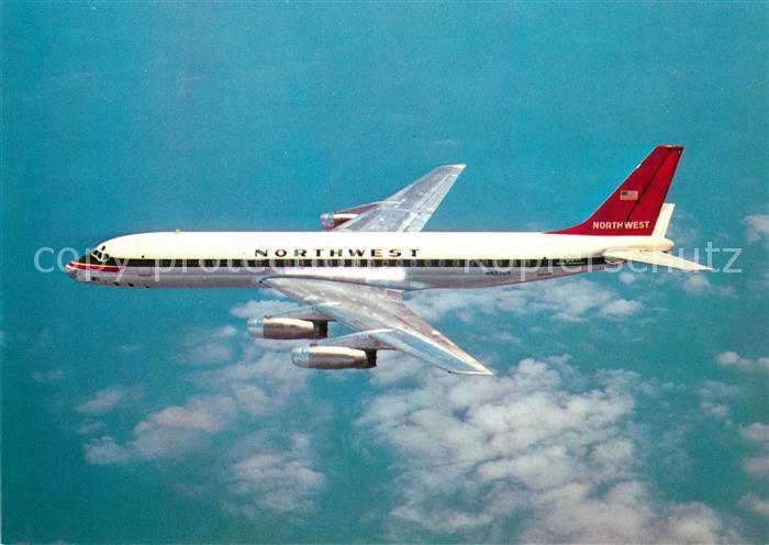 AK / Ansichtskarte Flugzeuge_Zivil Nortwest Airlines Convair 880 N803US Douglas DC 8 33 Flugzeuge Zivil