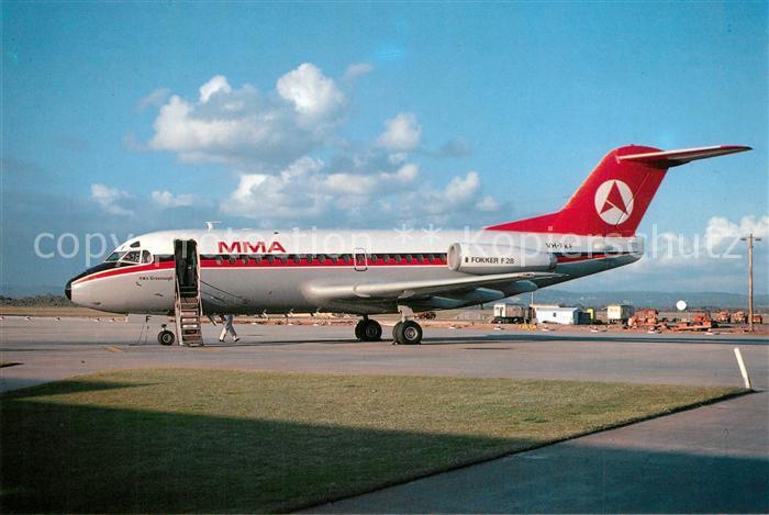 AK / Ansichtskarte Flugzeuge_Zivil MMA MacRobertson Miller Airlines Fokker F 28 1000 VH FKF c n 11008 Flugzeuge Zivil
