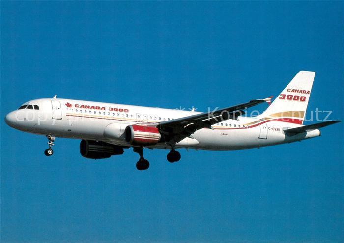 AK / Ansichtskarte Flugzeuge_Zivil Canada 3000 Airbus A 320 212 C GVXB c n 409 Flugzeuge Zivil