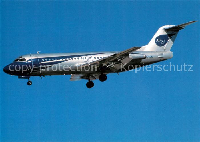 AK / Ansichtskarte Flugzeuge_Zivil Air 21 Fokker F 28 4000 N498US c n 11181 Flugzeuge Zivil