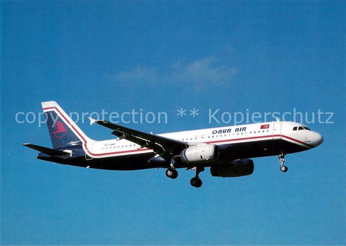 AK / Ansichtskarte Flugzeuge_Zivil Onur Air A320 231 TC ONF c n 444 Flugzeuge Zivil
