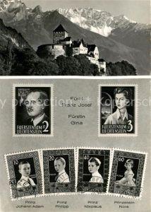 AK / Ansichtskarte Briefmarke_auf_Ak Fuerstentum Liechtenstein Fuerst Franz Josef Fuerstin Gina Schloss Vaduz Briefmarke_auf_Ak