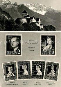 AK / Ansichtskarte Briefmarke_auf_Ak Liechtenstein Fuerst Franz Josef Fuerstin Gina Schloss Vaduz  Briefmarke_auf_Ak