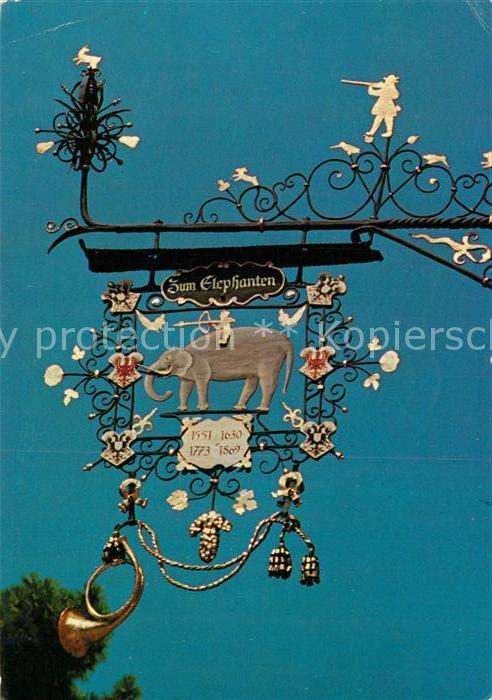 AK / Ansichtskarte Brixen_Suedtirol Schmiedeeisernes Schild Zum Elephanten Brixen Suedtirol