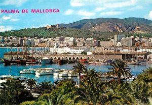 AK / Ansichtskarte Palma_de_Mallorca Vista parcial de la Bahia Hafen Yachten Fischkutter Palma_de_Mallorca