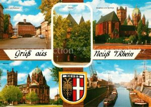 AK / Ansichtskarte Neuss Markt Rathaus Obertor Zeughaus Hafen Muenster Neuss