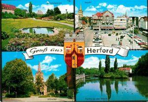 AK / Ansichtskarte Herford Entenbrunnen Markt Muenster Partie an der Werre Herford