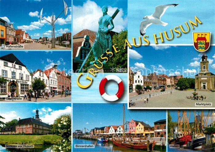 AK / Ansichtskarte Husum_Nordfriesland Hafenstr Grosstrasse Marktplatz Schloss Binnenhafen Hafen Husum_Nordfriesland