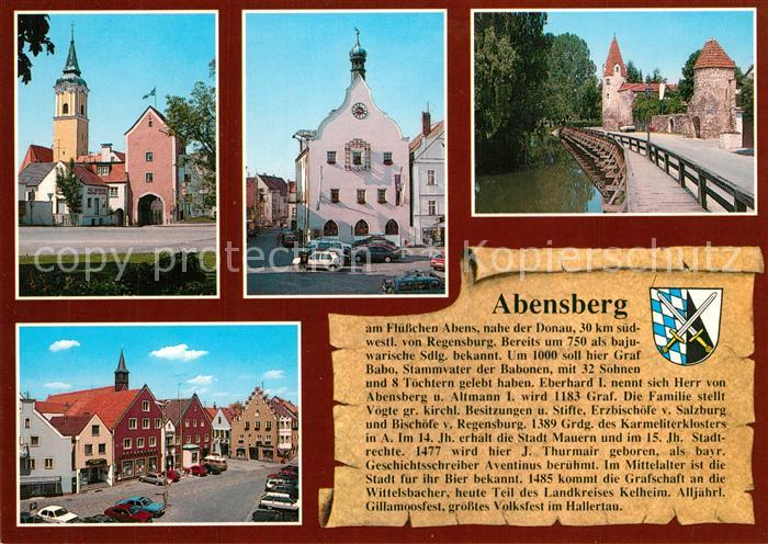 AK / Ansichtskarte Abensberg Regensburger Tor Rathaus Stadtmauer mit Maderturm Stadtplatz Abensberg