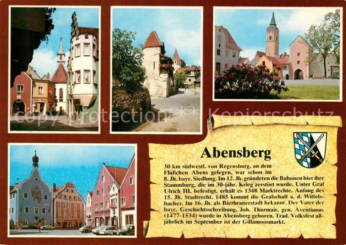 AK / Ansichtskarte Abensberg Stadtplatz Ruine mit Marderturm Regensburger Tor Rathaus Abensberg