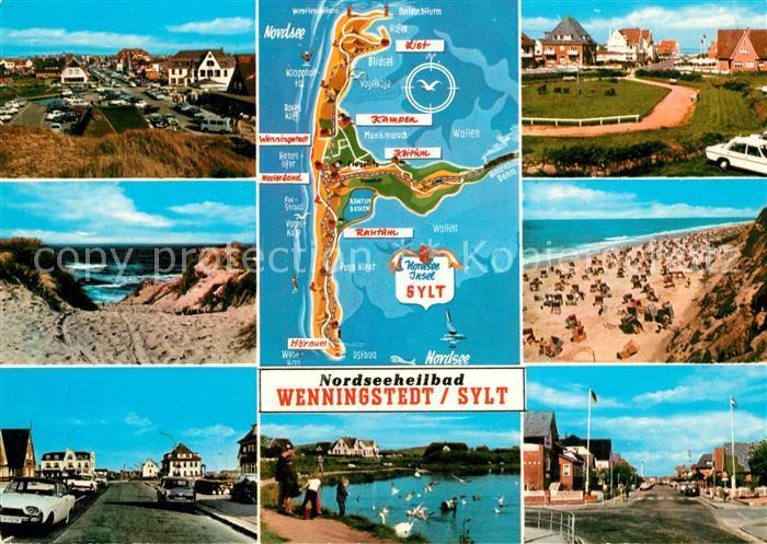 AK / Ansichtskarte Wenningstedt_Sylt Teilansichten Inselkarte Schwanenteich Wenningstedt_Sylt