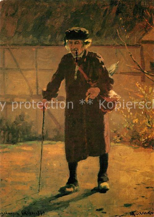 AK / Ansichtskarte Kuenstlerkarte H. R. von Volkmann Heimkehrender Bauer  Kuenstlerkarte