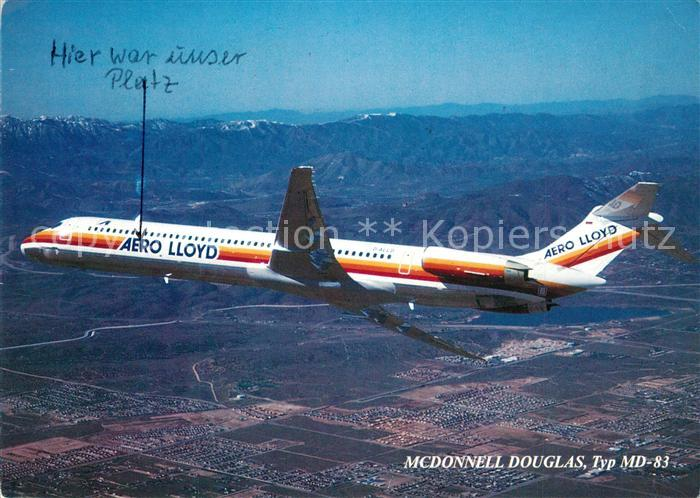 AK / Ansichtskarte Flugzeuge_Zivil Aero Lloyd McDonnell Douglas Typ MD 83  Flugzeuge Zivil