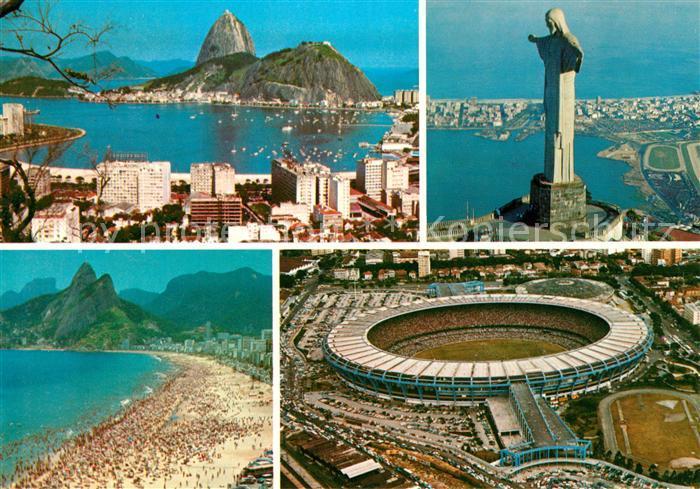 Ak Ansichtskarte Stadion Rio De Janeiro Christusstatue Strand