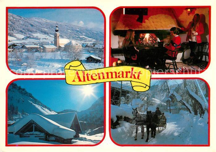 AK / Ansichtskarte Zauchensee Winterlandschaft Wintersportplatz Berghuette Kamin Pferdeschlitten Zauchensee