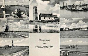 AK / Ansichtskarte Pellworm Alte Kirche Hooger Faehre Hafen Pellworm
