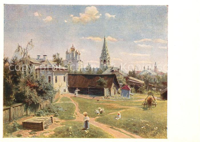 AK / Ansichtskarte Kuenstlerkarte Moskauer Hof Kuenstler W. D. Polenow Kuenstlerkarte