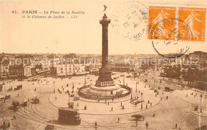 AK / Ansichtskarte Paris Place de la Bastille et la Colonne de Juillet Paris