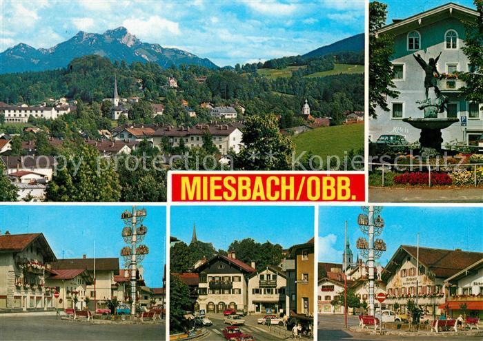 AK / Ansichtskarte Miesbach Gesamtansicht Maibaum Innenstadt Brunnen Miesbach