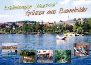 AK / Ansichtskarte Baumholder_Nahe Erlebnisregion Westrich Eislaufen Kanufahren Bike Store Hochseilgarten Sittichfarm Baumholder Nahe