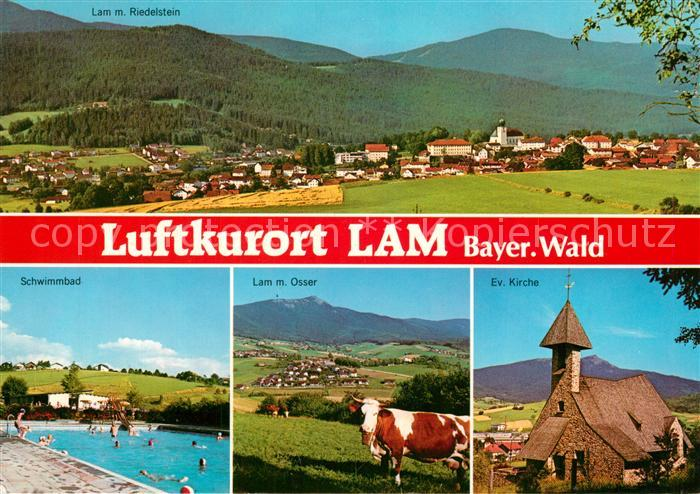 AK / Ansichtskarte Lam_Oberpfalz mit Riedelstein Schwimmbad Osser Ev Kirche Lam_Oberpfalz