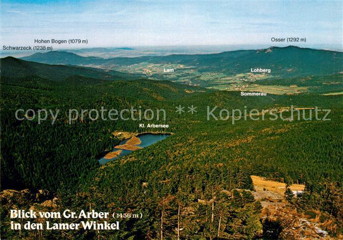 AK / Ansichtskarte Lam_Oberpfalz Blick vom Grossen Arber mit Kl Arbersee Schwarzeck und Osser Lam_Oberpfalz