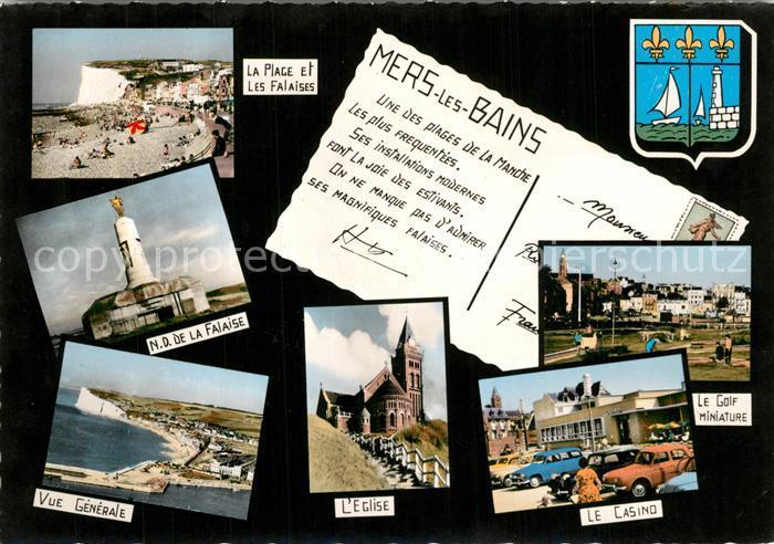 Mers les Bains Plage et les Falaises Notre Dame de la Falaise Vue generele Eglise Casino Le Golf Miniature Mers les Bains