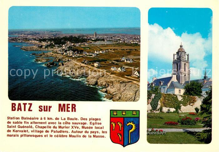Batz sur Mer Vue generale aerienne Eglise Saint Guenole Batz sur Mer