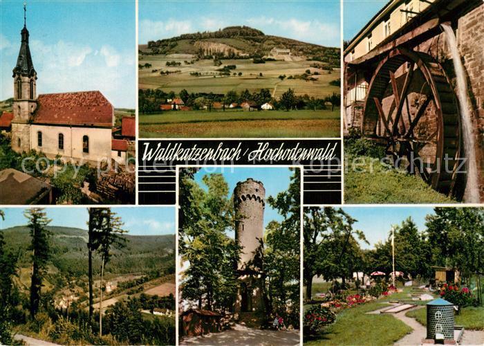 Waldkatzenbach Kirche Panorama Burgturm Muehlrad Minigolfpartie Waldkatzenbach