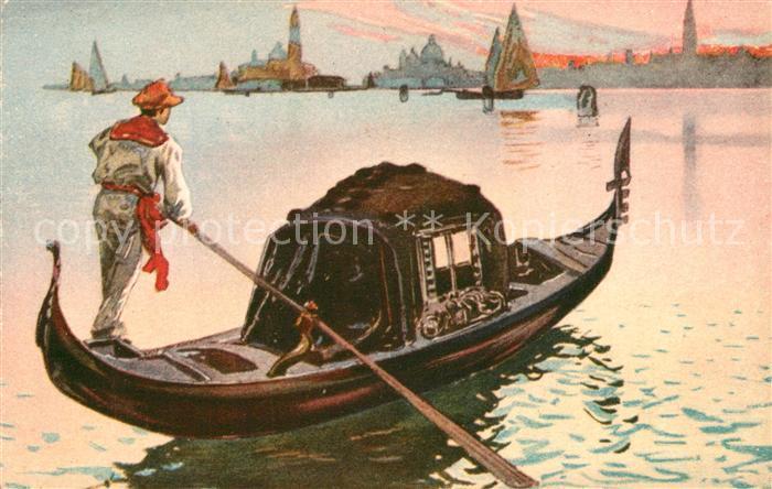 Venezia_Venedig La Gondola Gondel Kuenstlerkarte Venezia Venedig