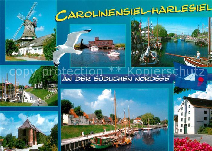 AK / Ansichtskarte Carolinensiel Harlesiel_Ostfriesland Windmuehle Hafen  Carolinensiel Harlesiel