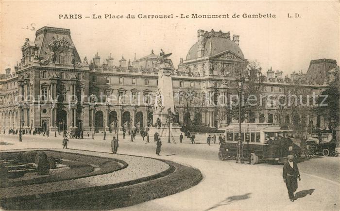 AK / Ansichtskarte Paris Place du Carrousel Monument de Gambetta Bus Paris