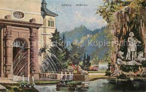 AK / Ansichtskarte Hellbrunn Schloss Teich Statue Kuenstlerkarte Hellbrunn